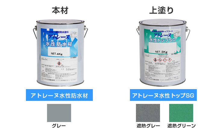 水性防水塗料アトレーヌ,カラー